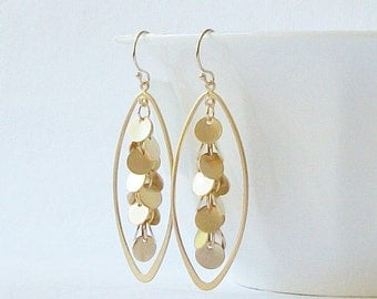 Gold Disk Cluster Earrings, Jewelry Gift