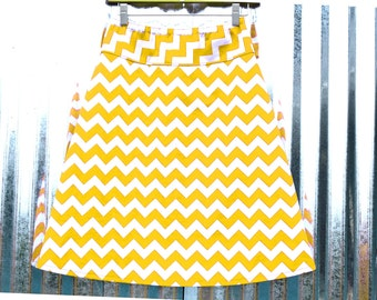 Yellow and White Chevron A-line skirt, Chevron Skirt, Riley Blake Medium Chevron, women's hip sizes 30''-56''