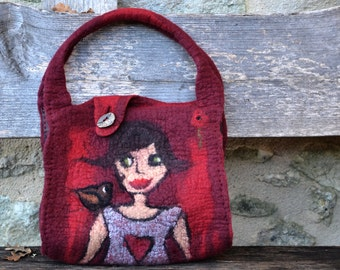 Felted bag wet felted purse red purse Nunofelt felt bag Artistic purse handmade fiber art Boho felt and leather bag