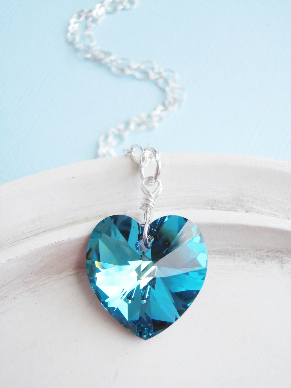 swarovski crystal heart necklace teal and blue by. Black Bedroom Furniture Sets. Home Design Ideas