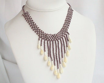 Purple Shell Bib Choker Necklace Purple Beaded Shell Dangles Vintage Bead Waterfall