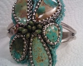 Embroidered Turquoise cuff