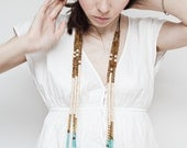 Mixed Media Boho Necklace/ Medium / Brown Creamy White Gold Turquoise Blue Necklace /  Gold Metal Necklace