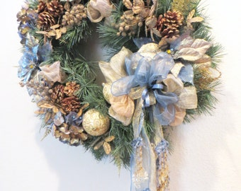 Christmas or Holiday Victorian Wreath Home Decor in Smoky Blue, Beige, Light Gold, thick Blue Spruce with Elegand Detailed Beaded Fringe Bow