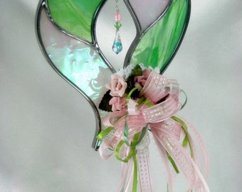 Decorated Stained Glass Heart Suncatcher in Pale Pink and Green with Swarovski Briolette
