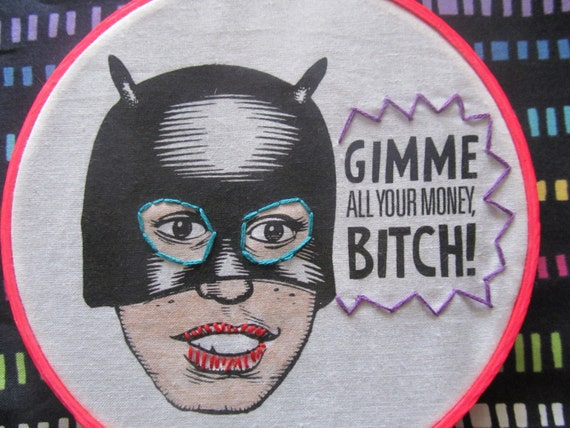 Ghost World Graphic Novel Heroine Enid in Bat Girl Mask with Quote Gimme All Your Money, B!