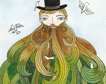 Beard with Birds Illustration - Art Print, Top Hat Gentleman Watercolor Painting, 8x10