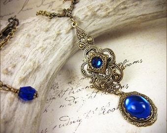Medieval, Tudor, Sapphire Medieval Necklace, Blue Renaissance Pendant, Medieval Jewelry, Ren Faire, Garb, Renaissance Jewelry, Avalon
