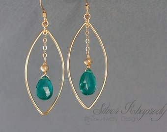 Teal Gold Earrings  - Marquise Dangle Teal Quartz  - Gold Fill - Dangle Earrings - Teal Jewelry