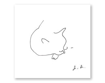 Cat Nap- Ink Drawing- Modern Home Wall Art- Minimalist