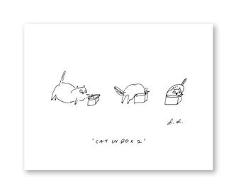 Cat in Box 2 - Cat Art -  Fine Art Print - Funny Cat Art - Ink Drawing - Wall Art- Cat Print