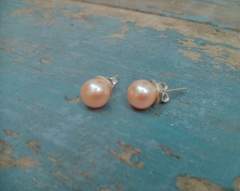 Genuine 8mm Pink Pearl Studs