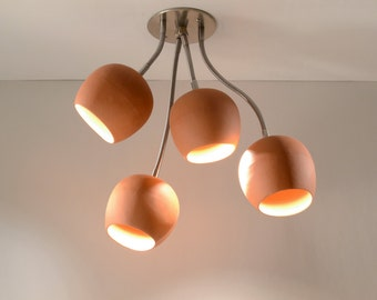 Ceiling Light: LED Bouquet with Four Ceramic Terracotta Shades