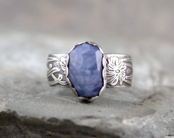 Blue Sapphire Ring  -  September Birthstone Ring - Blue Gemstone Ring - Rustic Sapphire Ring - Sterling Silver Statement Ring