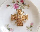 Vintage Maltese Cross Brooch. Large Pin. 1960s. BSK Jewelry. Vintage Pin. Pendant. Nail Head Design. Gold Tone. Metallic. Statement Pin.