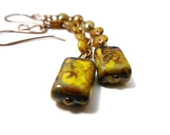 Mossy Green Rustic  Dangle Earrings, Picasso Czech Glass and Brass