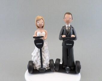Cake Topper Bride & Groom On Segways Custom Made