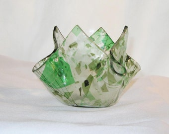 Fused Glass Candle Holder in Leafy Green - FREE Shipping & Insurance in the USA