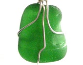 Irish Sea Glass Jewelry. Kelly Green Pendant. Optional Crochet Chain Necklace. Ocean Jewel