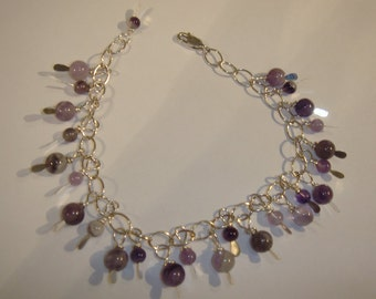 Sterling Silver Amethyst fun Bracelet-Purples and whites handmade February stone