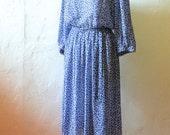 Blue Vintage Dress - M/L - Flowy Lightweight Long-Sleeved Frock