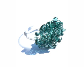 Glass Cluster Ring - Emerald