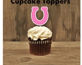 Cowgirl Birthday Party - Set of 12 Pink Horseshoe Cupcake Toppers by The Birthday House