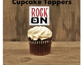 Rock Star Party - Set of 12 Rock On Cupcake Toppers by The Birthday House