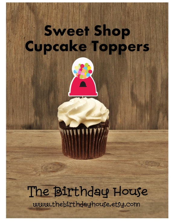 Sweet Shop Party -  Set of 12 Gumball Cupcake Toppers by The Birthday House