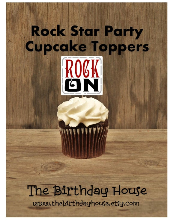 rock star party set of 12 rock on cupcake toppers by the birthday house by the birthday house. Black Bedroom Furniture Sets. Home Design Ideas