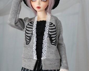 BJD Cardigan Sweater for Minifee, Grey with Black Rib Bones, 1/4 Size Doll Clothes MNF