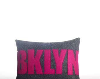"Decorative Pillow, Throw Pillow, ""BKLYN"" pillow, 10X14 inch"