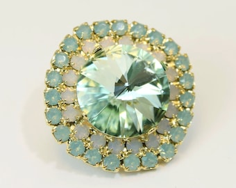 Mint Green Brooch Pin White Opal Brooch Pin Crystal Pale Green Brooch pin Lapel pin  Swarovski Crystal Rhinestones Brooch, gold finish, GA5