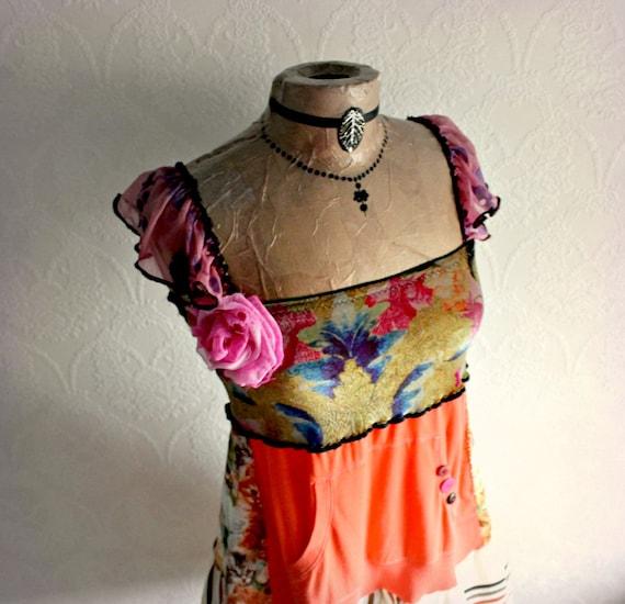 Orange Boho Dress Upcycled Clothing Women's Eco Clothes