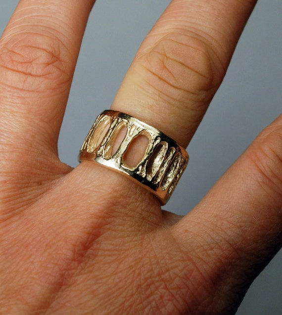 Gold Shark Vertebra Ring - Extra Wide Ladder-5K-US Size 6.75. Ready to Ship.