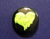 "Booger Heart 1"" Pinback Button - Lime Green Drippy Slime Heart"