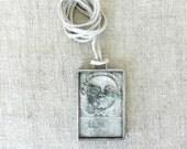 Large Cherub Necklace, Oddity Jewelry, Gothic Jewelry, Glass & Metalwork Jewelry, Cemetery Art Necklace, Headstone Art, Halloween Pendant