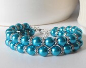 Teal Pearl Bracelet, Bridesmaid Bracelet, Beaded Double Strand Bracelet, Blue Green Jewelry, Teal Wedding, Pearl and Rhinestone Bracelet