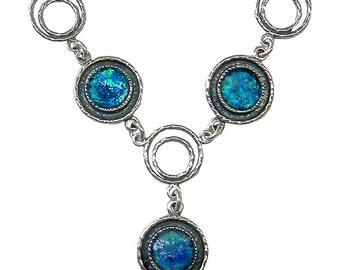 Unique Roman Glass Necklace, Blue Modern Designer Necklace, Silver Link Roman Glass Necklace, Blue Statement Necklace, OOAK
