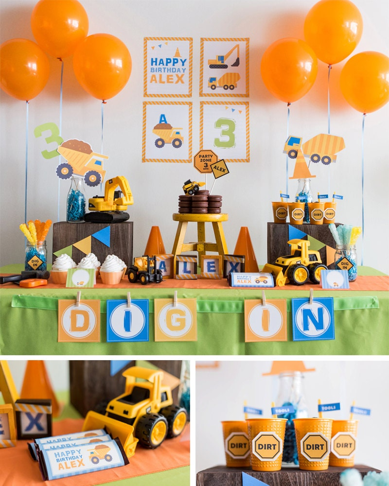 DIGITAL FILES Construction Party Decorations DIY Party