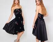 Vintage 50s Cocktail Dress EMMA DOMB Black STRAPLESS Velvet & Satin Dress Embroidered Rose Evening Dress Hi Lo Dress