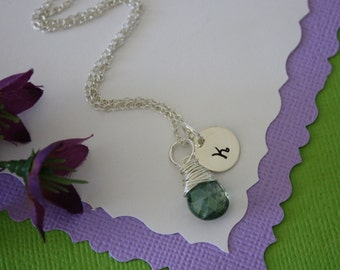 Initial Necklace Personalized, Initial Jewelry, Bridal Party, Gemstone and Initial, Gift Set, Sterling Silver, Wedding