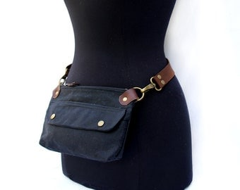 Hip Pouch Fanny Pack Black Waxed Canvas
