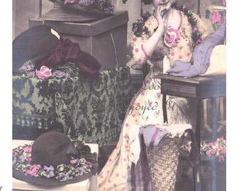 Spectacular French HAT Maker  /  Milliner in her Beautiful MILLINERY SHOPPE Making Hats - Hand Tinted Real Photo Postcard Circa 1910