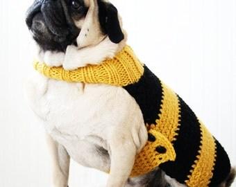 Bumble Bee Dog Sweater - Bumble Bee Costume - Pug Sweater - Pug Jacket - Dog Clothing