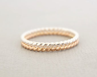 Gold Ring Silver Ring Thin Stackable Twist Rings One Gold Filled one sterling rope ring mixed metal stackable rings