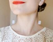Minimalist Deco Opal Drop Earrings