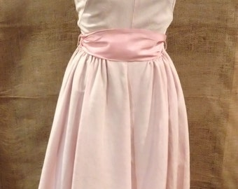HALF PRICE SALE - 1950s Prom Dress Pink Sash Full Skirt Sleeveless Evening Dress Satin