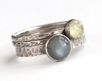 Total Eclipse - Black Moonstone and Oxidized Sterling Silver Ring