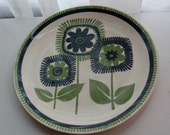 Two Tone Green Mod Flower Serving Platter